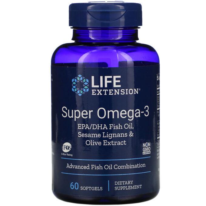 Life Extension, супер омега-3, 60 мягких таблеток
