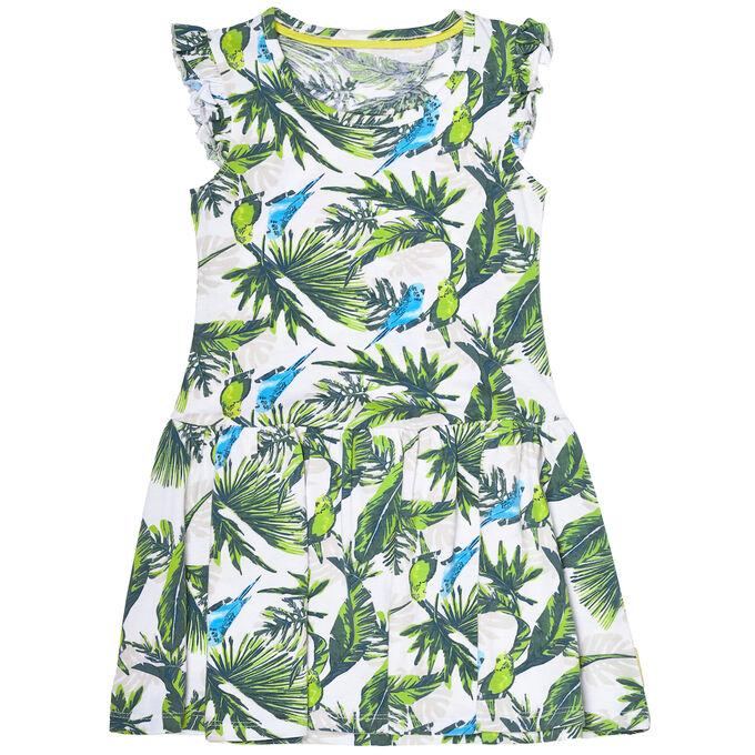 Платье для девочки, набивка попугаи