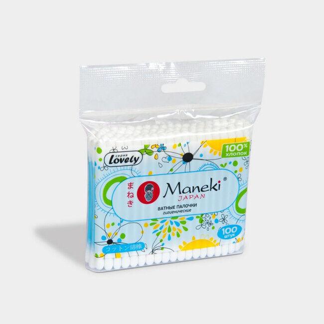 """Палочки ватные гигиенические """"Maneki"""", серия Lovely, с голубым пластиковым стиком, в zip-пакете, 100 шт./упак"""