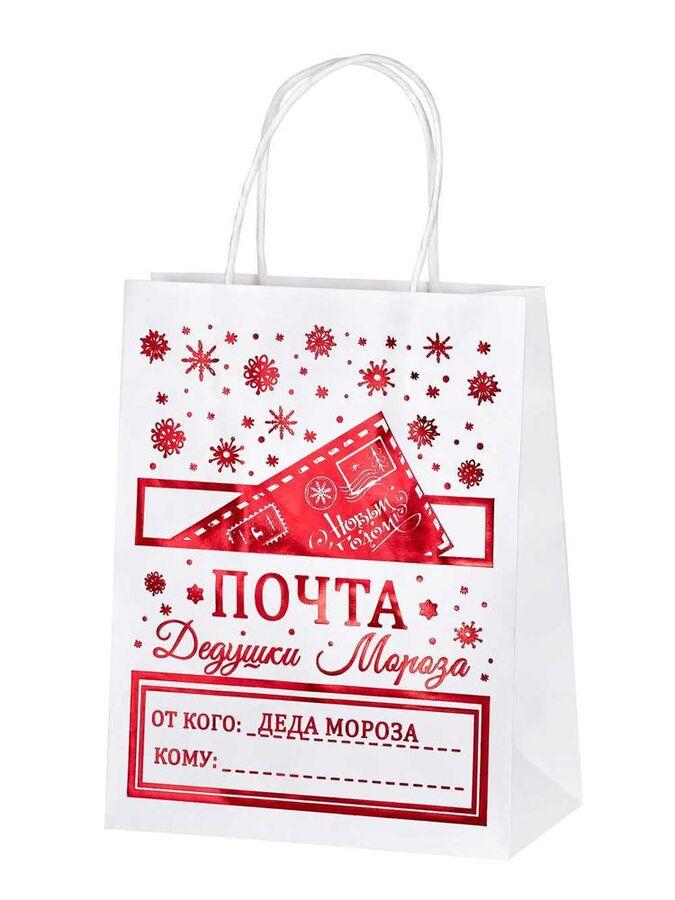 Пакет из крафт бумаги Почта Деда Мороза