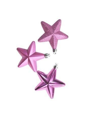 Новогоднее подвесное украшение Звёзды розовые: набор из 3х шт.