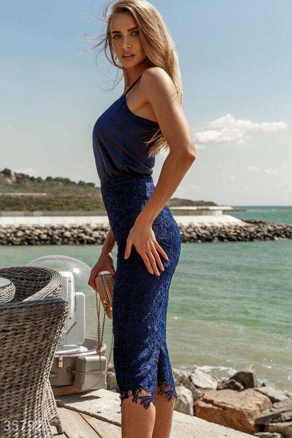 Синяя кружевная юбка Gepur