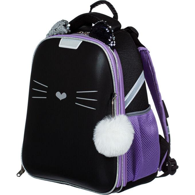 Ранец N1School Kitty black, 2 отд., ортопед. спинка, экокожа