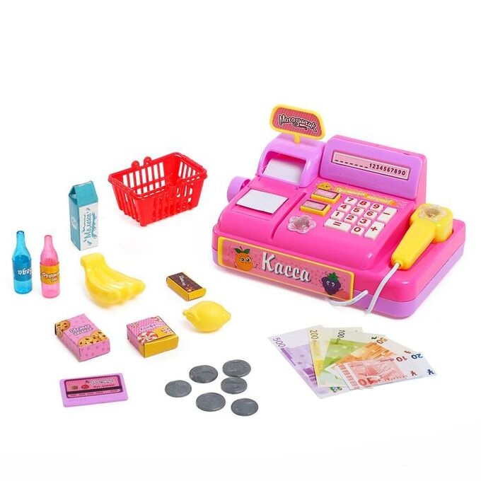 Игровой набор касса «Магазинчик», с аксессуарами, световые и звуковые эффекты, МИКС