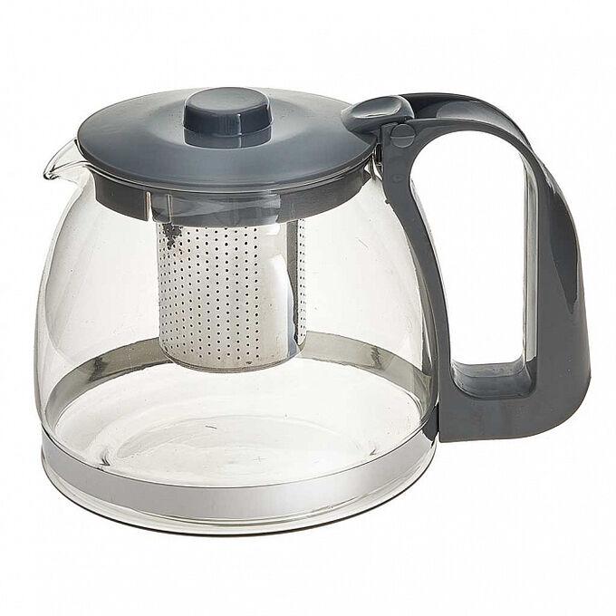Заварочный чайник 1200 мл с фильтром из нержавеющей стали ВЕ-5511 серый