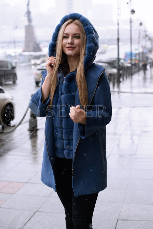Пальто шерстяное с мехом кролика , blue