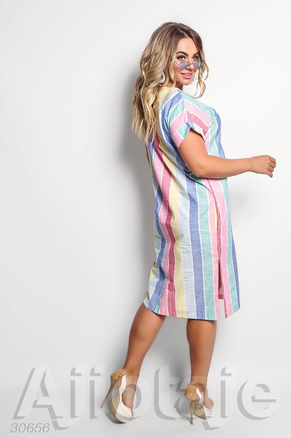 Льняное платье миди в яркую полоску