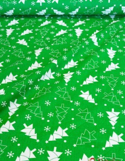 """Поплин """"Елочки на зеленом"""" СОРТ2, ш.1.5 м, хлопок-100%, 115гр/м.кв"""