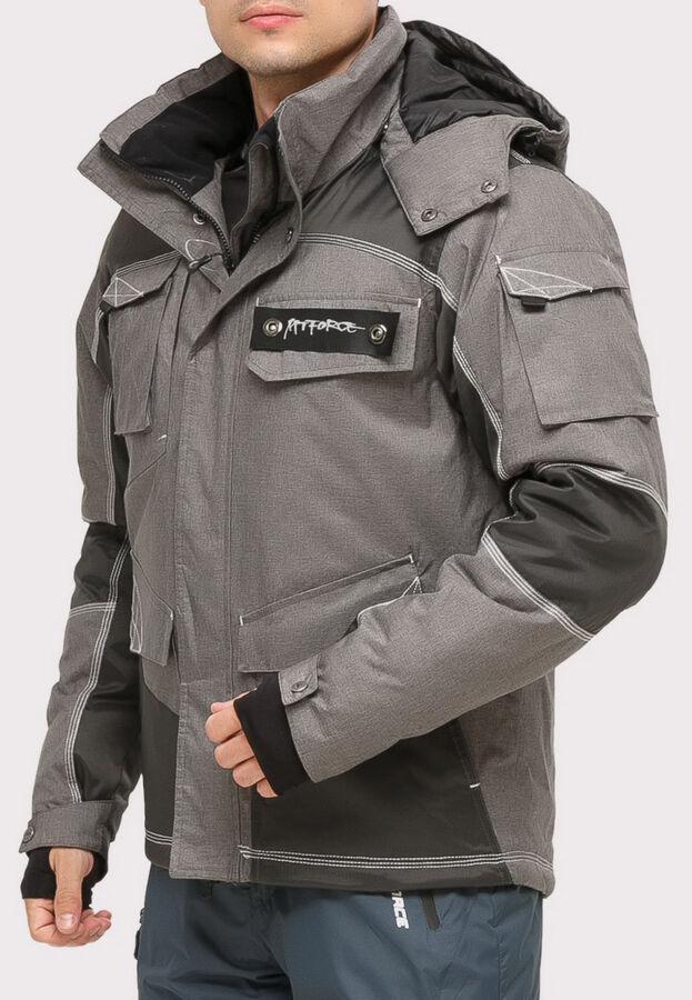 Мужской зимний костюм горнолыжный серого цвета 01912Sr