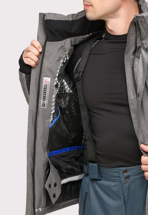 Мужская зимняя горнолыжная куртка серого цвета 1912Sr