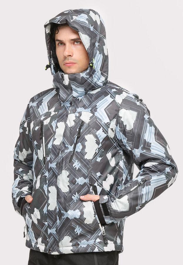 Мужская зимняя горнолыжная куртка серого цвета 18108Sr