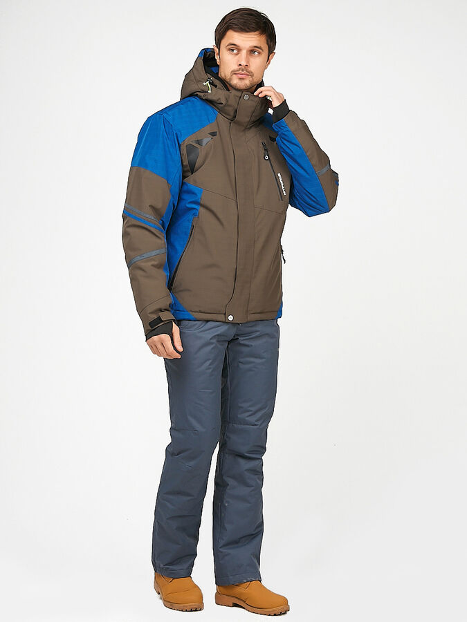 Мужской зимний костюм горнолыжный цвета хаки 01972Kh