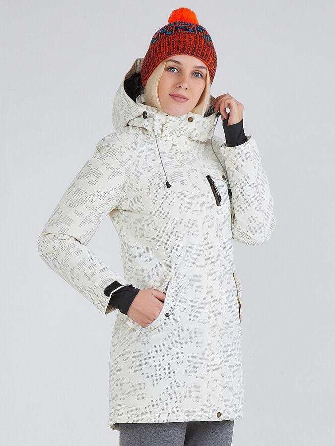 Женская зимняя парка белого цвета 1949Bl