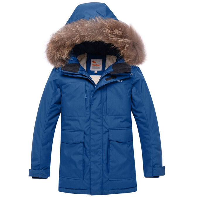 Парка зимняя для мальчика Valianly синего цвета 9041S