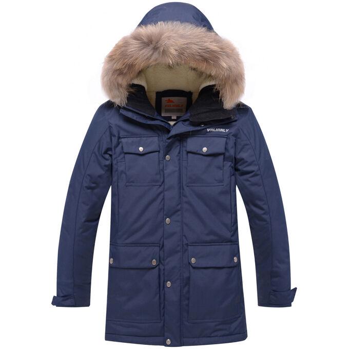 Парка зимняя для мальчика Valianly темно-синего цвета 9045TS