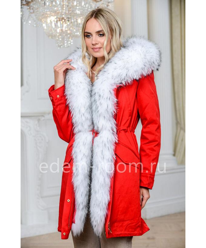 Парка RED с мехом белого енотаАртикул: N-9846-90-RD-EN