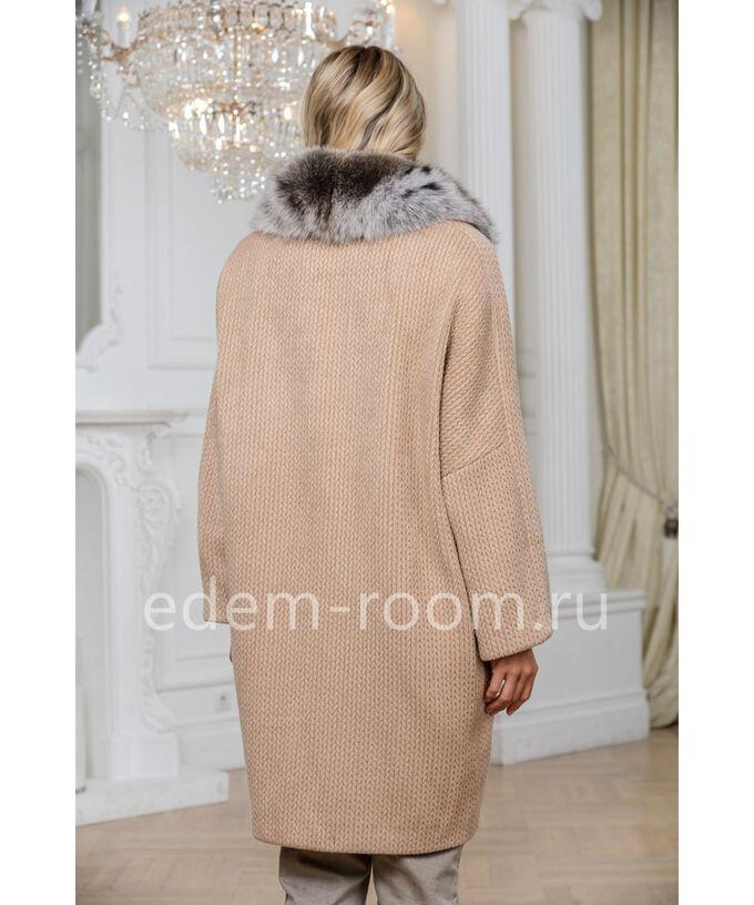 Пальто -кардиган из шерсти с мехом песцаАртикул: 313-95-P-P