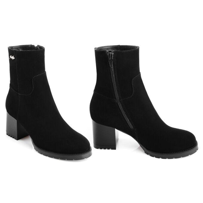 Ботильоны женские зимние замшевые на среднем каблуке. Модель 3215 н замша (зима)