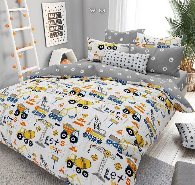 КПБ ПОПЛИН Юный строитель 1,5 спальный с простыней на резинке