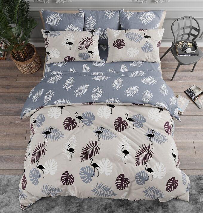 Комплект из Поплина 1,5 спальный Тропики