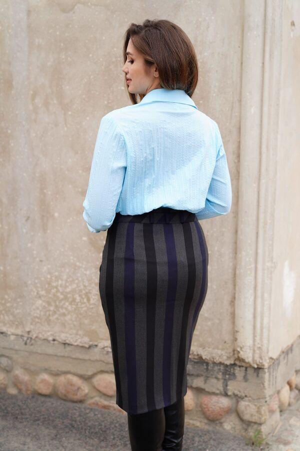 Юбка миди 64% п/э 33% вискоза 3% эластан; подкладка: 100% п/эРост: 164 см. Юбка женская из ткани в полоску, зауженная книзу, с завышенной талией, на подкладке, на притачном поясе со шлевками. Верхний