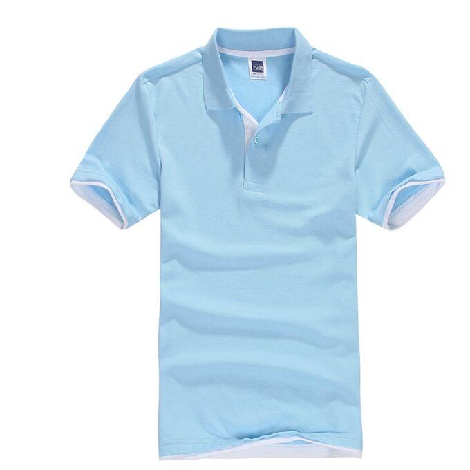 Футболка Polo мужская, голубой/белый