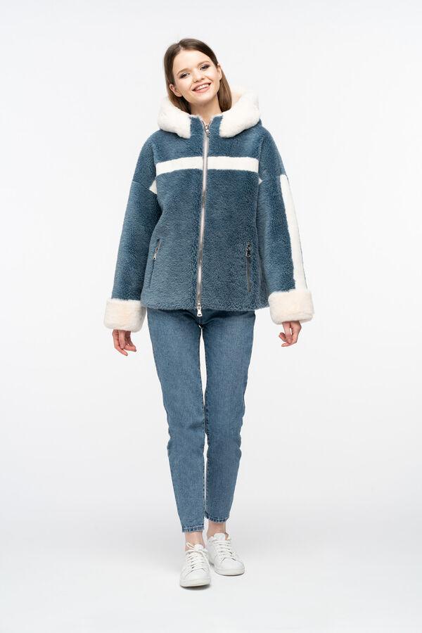 """Куртка из меха керли  цвет """"джинс"""""""