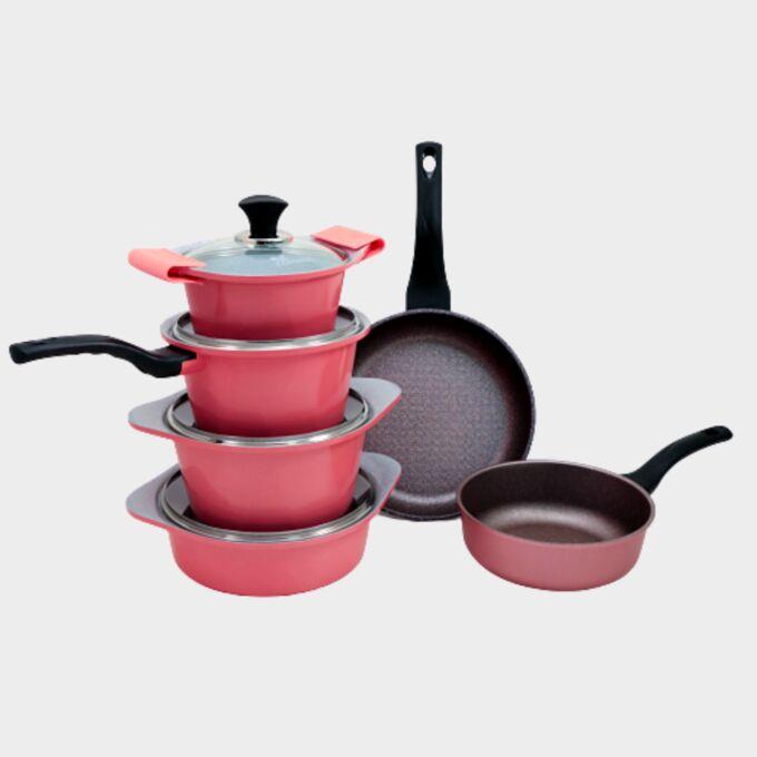 Набор посуды Ecoramic (розовый) с каменным покрытием