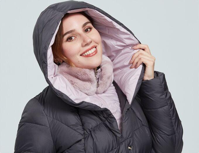 Женский зимний пуховик с капюшоном и меховым воротником-стойкой ХИТ ПРОДАЖ, цвет темно-серый