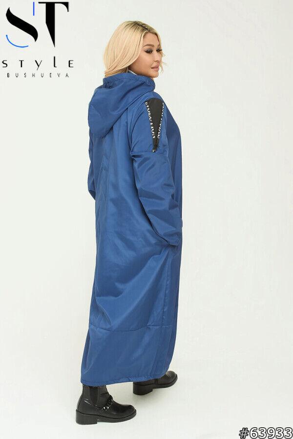 Плащ 63933 Артикул: 63933; Материал: Плащёвка «Канада» +подклада; Цвет: синий; Размер на фото: XL; Параметры модели: 100-72-102; Рост модели: 163; 52-54: Ог 128 см. От 140 см. Об 154 см, обхват рукава