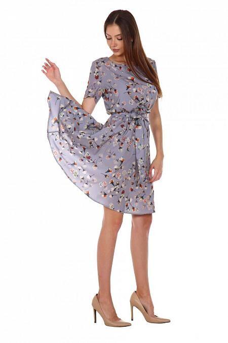 Платье Аэлина (2163). Расцветка: розочки на сером