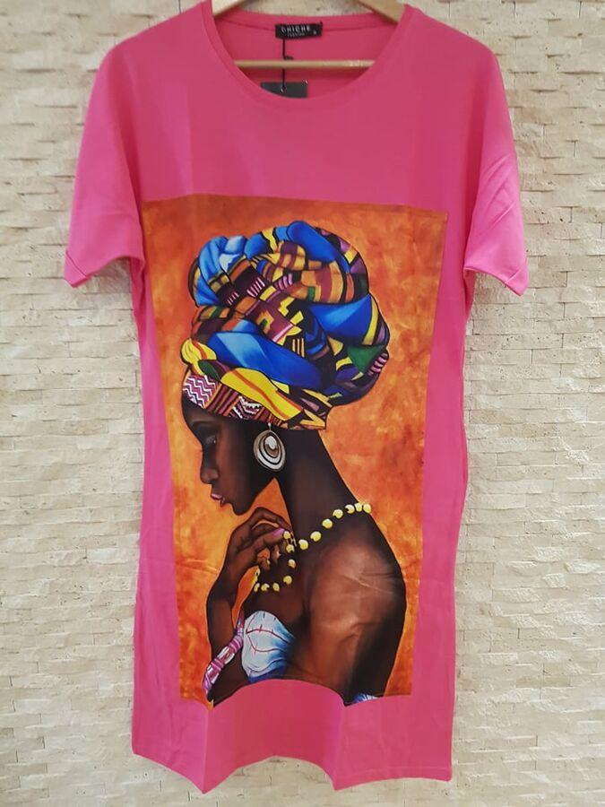 Платье-футболка цвет Фуксия