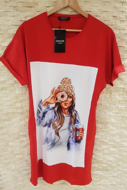 """Платье-футболка Цвет красный """"Кофе и пончик"""""""