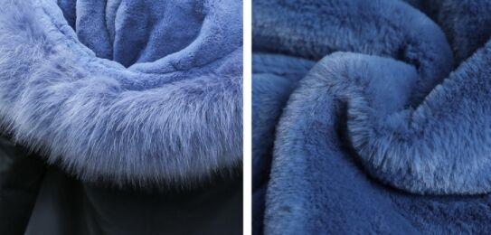 Зимний пуховик,серо-синий мех