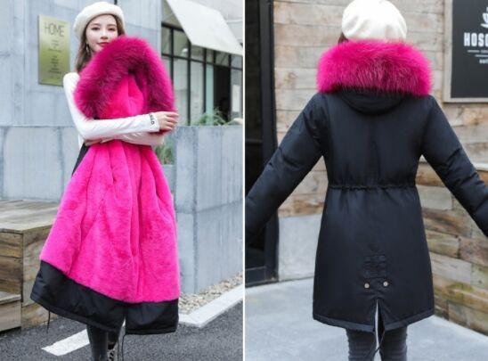 Зимний пуховик,розовый мех