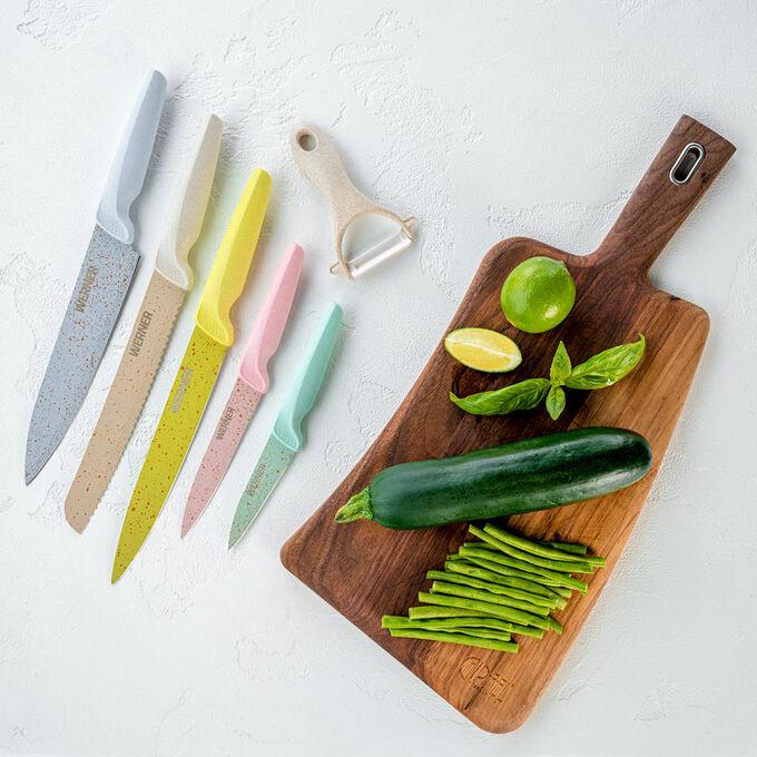 50156 WERNER Набор кухонный SIENNA 6 предметов: нож поварской, длина лезвия 20см; нож разделочный, длина лезвия 20см; нож хлебный, длина лезвия 20см; нож универсальный, длина лезвия 12,7см; нож для чи