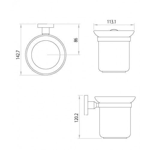 """LM3240C """"Атлантисс"""" Аксессуары для ванной, ершик для унитаза с держателем (стакан-стекло), хром"""