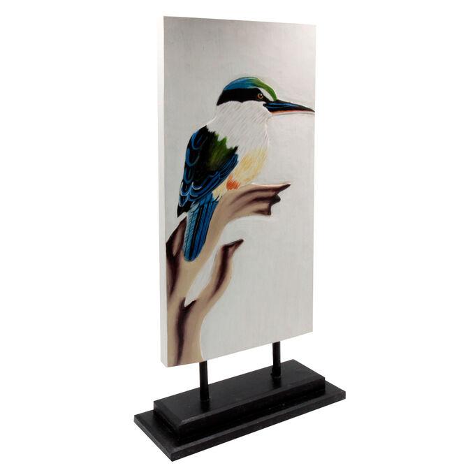 Панно настольное певчая птица Бали дерево Албезия роспись 50cm-23см