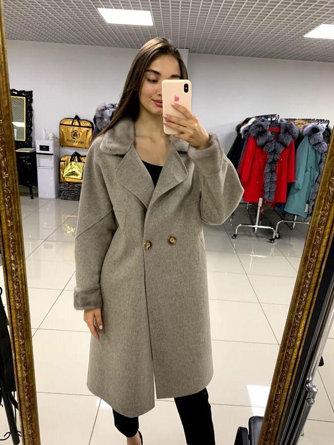 """Пальто кашемировое, цвет """"серый меланж"""""""
