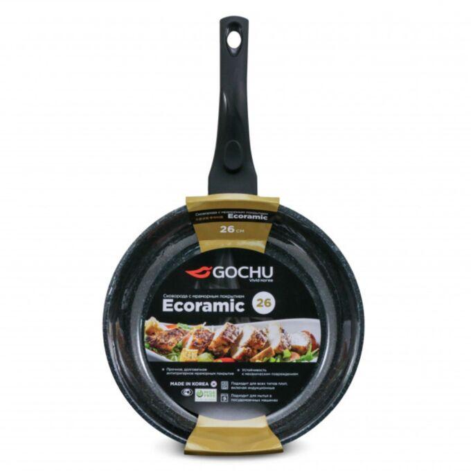Сковорода Gochu Ecoramic 26 см с мраморным покрытием для индукционных плит без крышки