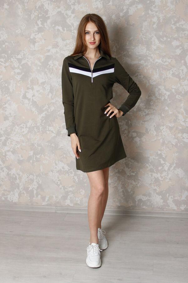 Платье Количество в упаковке: 1; Артикул: ДЕ-941-h; Цвет: Зелёный; Ткань: Футер 2-х нитка; Состав: 92% хлопок,8% эластан.; Цвет: Красный | Зелёный Платье повседневное с молнией