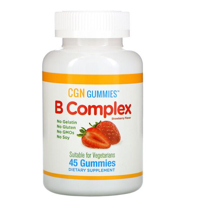 California Gold Nutrition, Жевательные таблетки с комплексом витаминов группы B, без желатина и глютена, натуральный клубничный вкус, 45 жевательных таблеток
