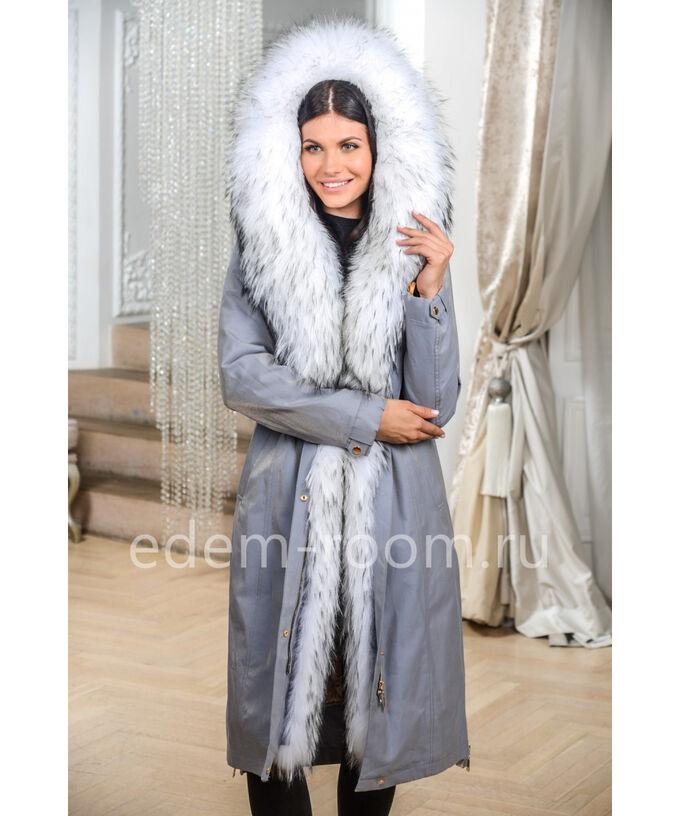 Светлая Парка- Пальто с белым мехомАртикул: N-9844-110-SR-EN