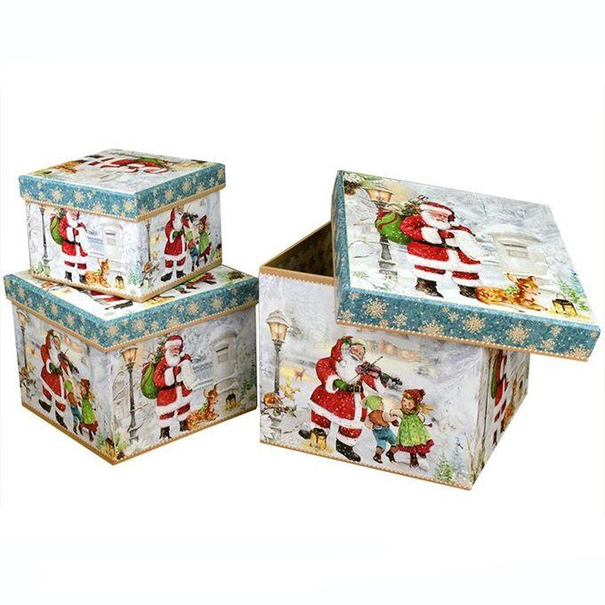 """Набор подарочных коробок КУБ 3 в 1 """"Дед Мороз и Дети"""""""