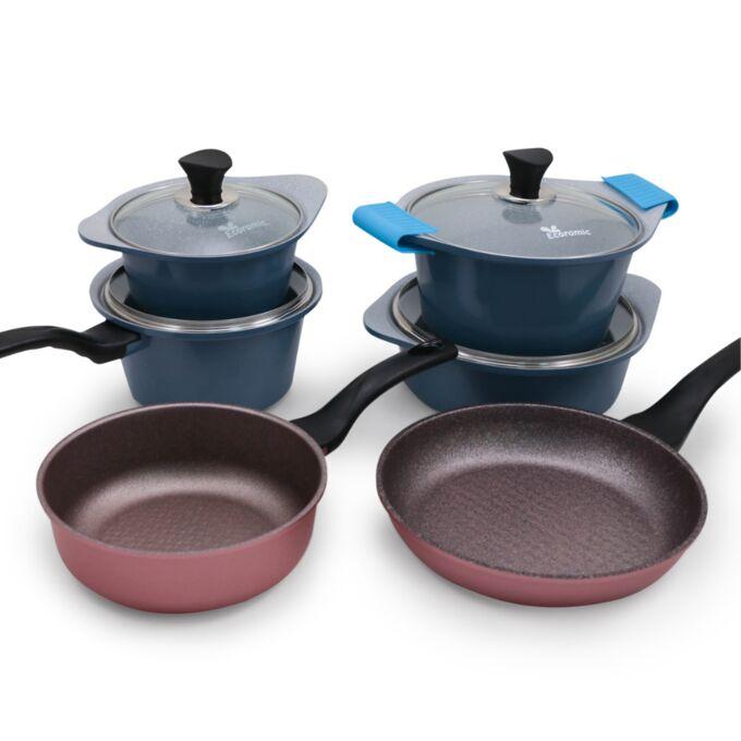 Набор посуды Ecoramic (голубой) с каменным покрытием