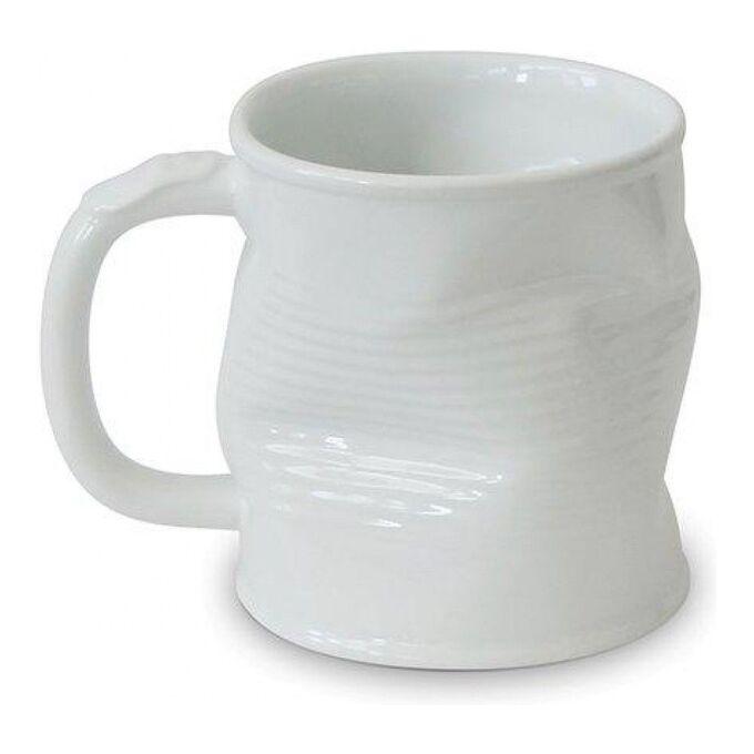 Мятая кружка керамическая 0.32л белая, белый