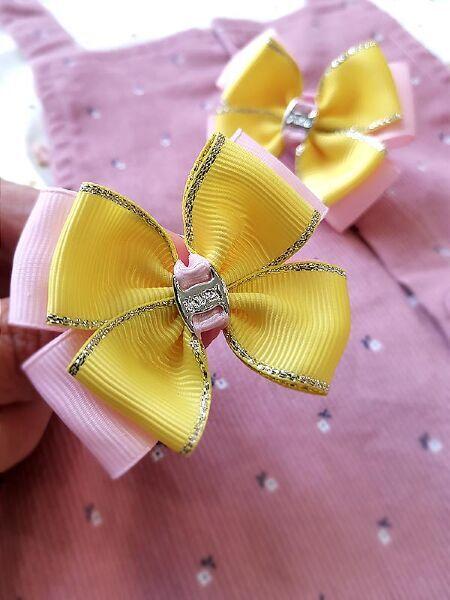 Бант Радость розовый с желтым