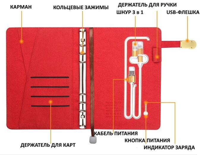 Многофункциональный органайзер с беспроводной зарядкой, 8 000 мАч