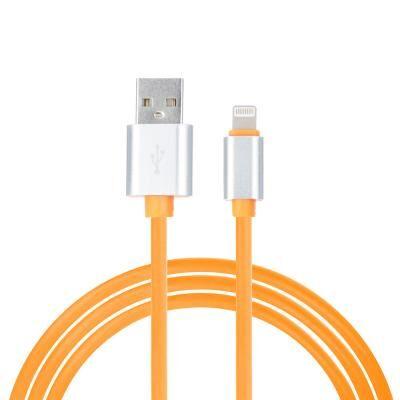 BY Кабель для зарядки iP, 1м, 2А, прорезиненный, оранжевый