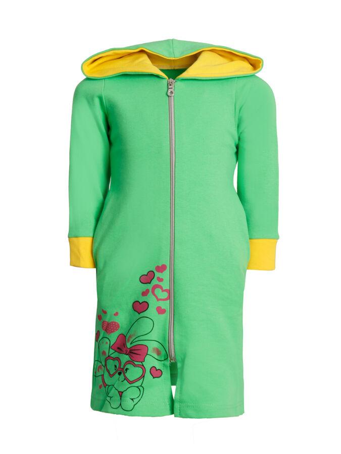 Халат Количество в упаковке: 1; Артикул: МАТ-ХЛИ/3; Цвет: Зелёный; Ткань: Интерлок; Состав: 100% Хлопок; Цвет: Розовый | Серый | Зелёный Халат с капюшоном, с карманами, застежка молния.На полочке сни